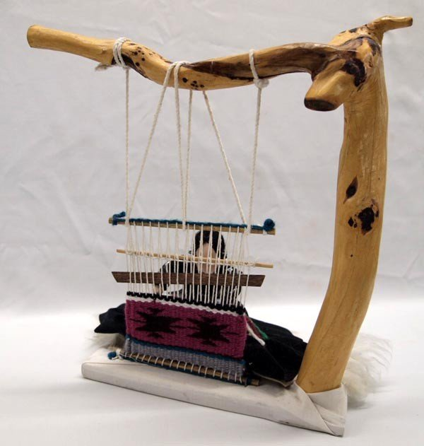 Navajo Weaver Doll With Partial Weaving