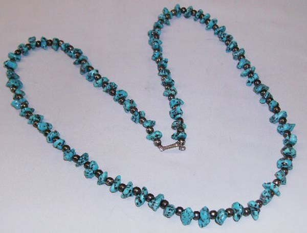 Navajo Turquoise Nugget & Silver Necklace
