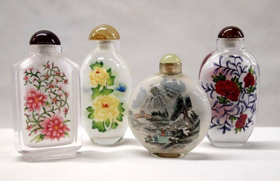 Oriental Snuff Bottles with Jade Stoppers