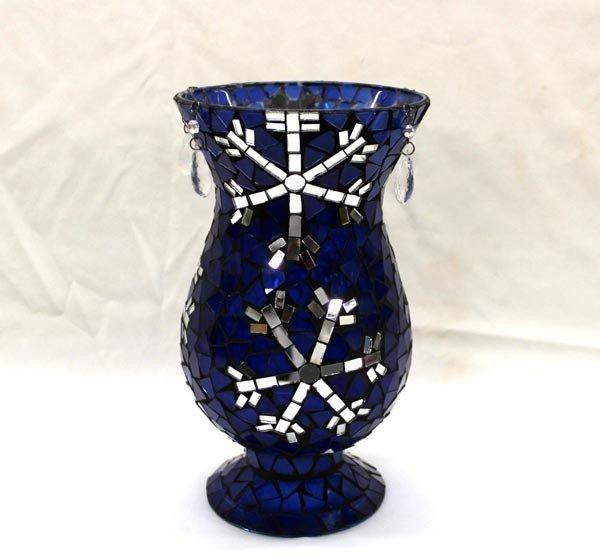 Cobalt Glass  Mirror Mosaic Vase