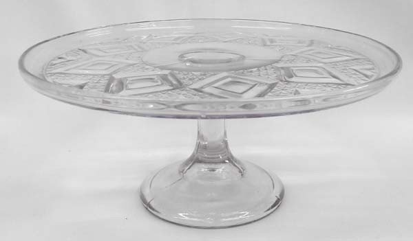 Antique Purpled Pattern Glass Cake Stand
