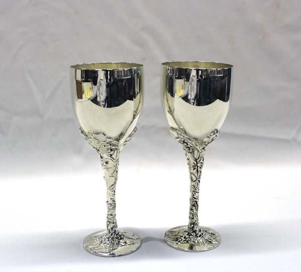 Pair Wine Goblets by Goddinger Silver Art Co.