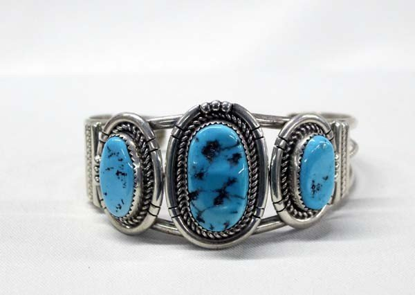 Navajo Silver Turquoise Bracelet by M Spencer