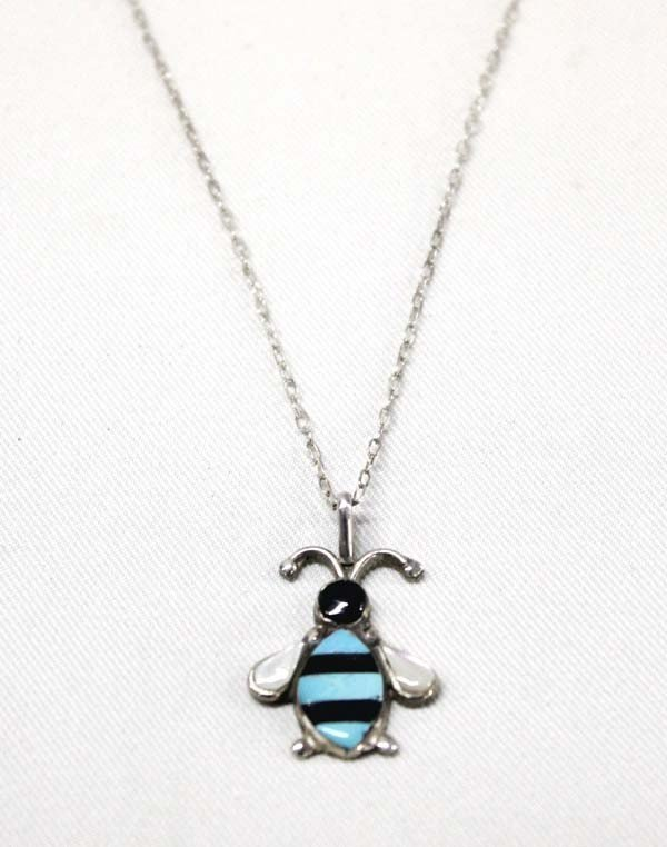 Zuni Silver Turquoise Bee Pendant Necklace