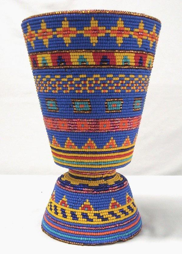 Kills Thunder Hand Beaded Vase