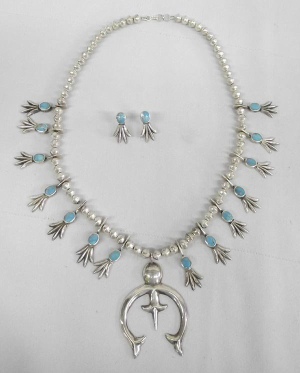 1980's Navajo Squash Blossom Necklace & Earrings