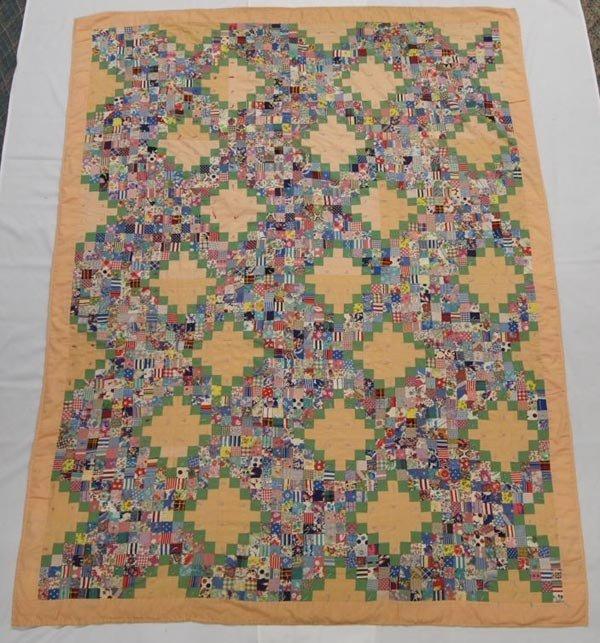 "Hand Made Coverlet ""Grandmother's Flower Garden"""