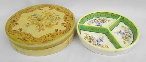 1930s Japanese Hand Painted Candy Dish In Box