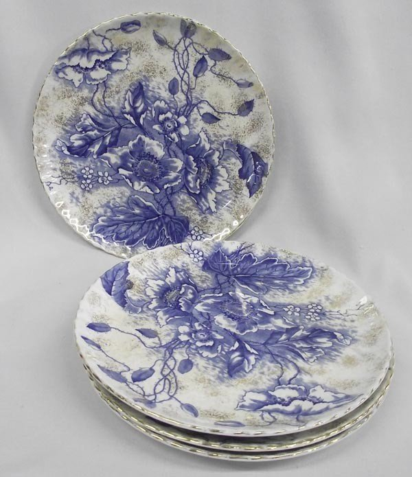 "Antique Flow Blue Luncheon Plates/4 ""Florence"" Pattern"