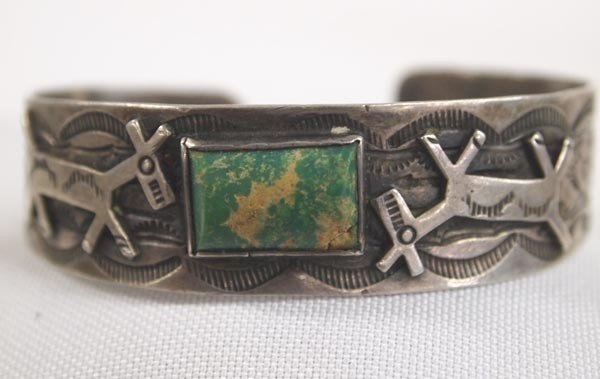 Navajo Sterling Silver & Green Turquoise Bracelet