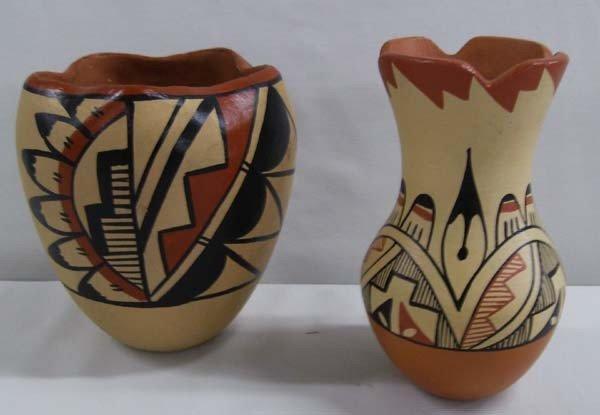 Native American Jemez Pottery Signed/2 Pcs.