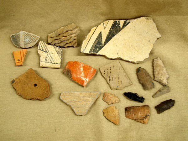 Native American Pottery Shards and Arrowheads