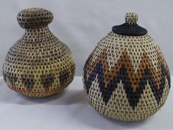 Two African Woven Jars w/Lids