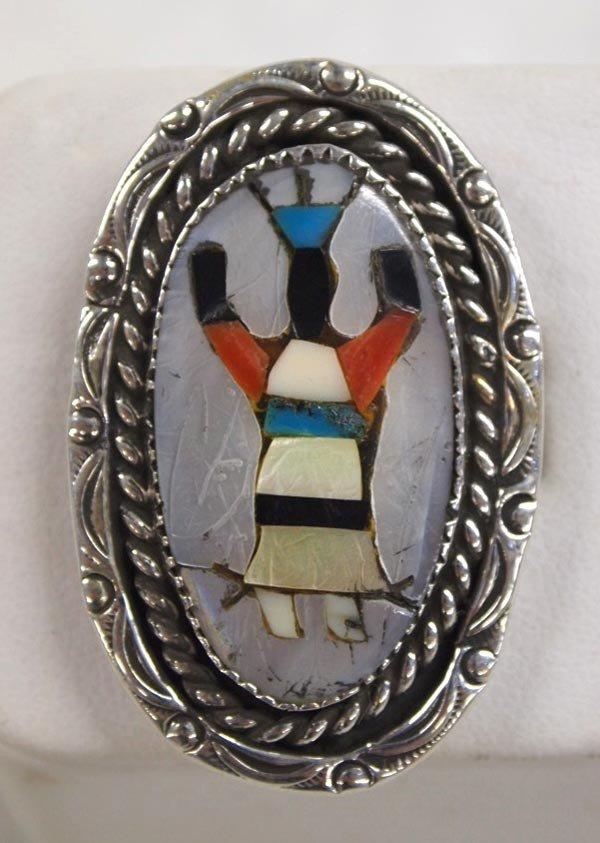 Zuni Silver Inlaid Ghan Dancer Ring Hallmarked