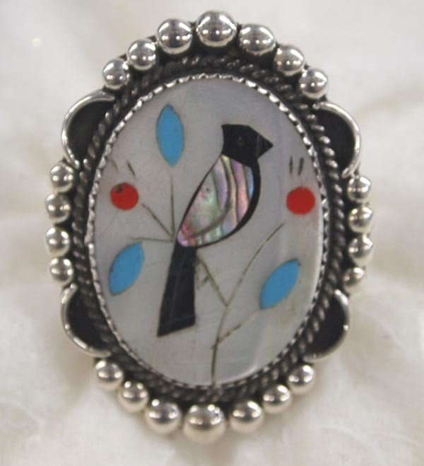 1970s Zuni Inlay Silver Ring Hallmarked