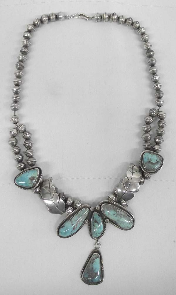 Native American Navajo Silver Turquoise Necklace