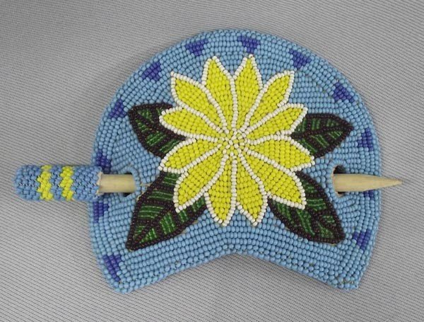 1980s Great Lakes Beaded Hair Barrette on Leather