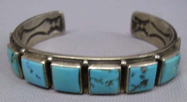 Navajo Sterling Turquoise Bracelet Oscar Alexius