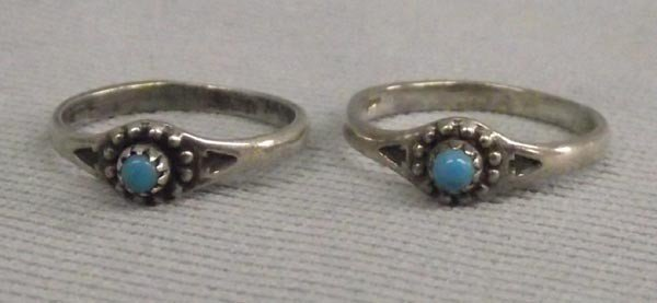2 Vintage Navajo Sterling Turquoise Child's Rings