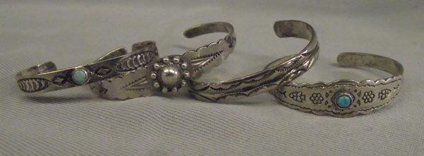 4 Vintage Navajo Silver Turquoise Child Bracelets