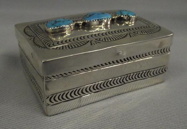 Navajo Sterling Silver Turquoise Box