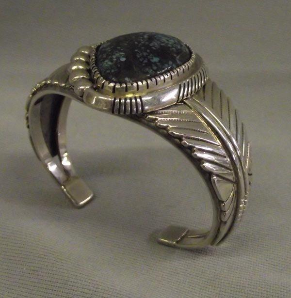 Navajo Sterling Spider Web Turquoise Bracelet