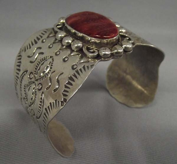Navajo Sterling Red Shell Bracelet-Hallmark AJC