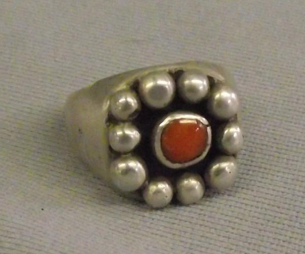 Navajo Sterling Silver Coral Ring Size 10