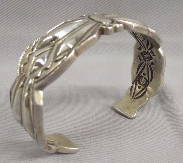 Navajo Hand Stamped Sterling Bracelet-R Adakai