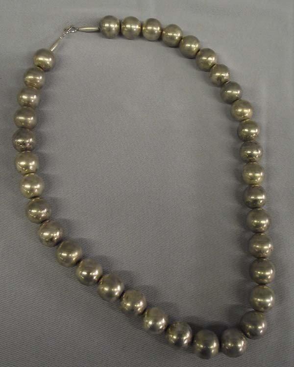 Navajo German Silver Hollow Bead Necklace