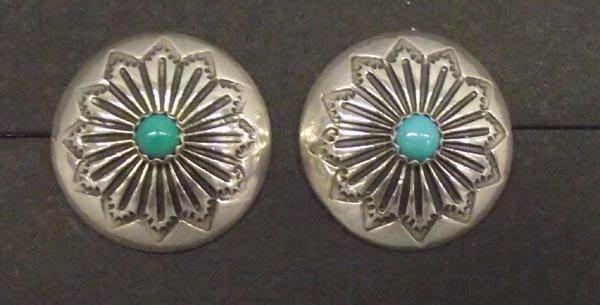 Navajo Sterling Concho Earrings w/Turquoise Nuggets