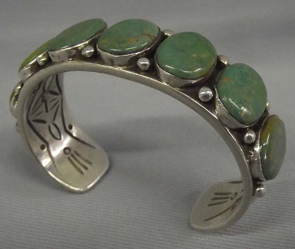Navajo Sterling Green Turquoise Bracelet-Adakai