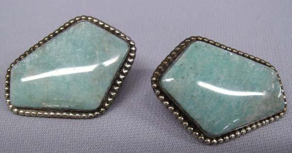 Peruvian Sterling Silver Blue Opal Earrings