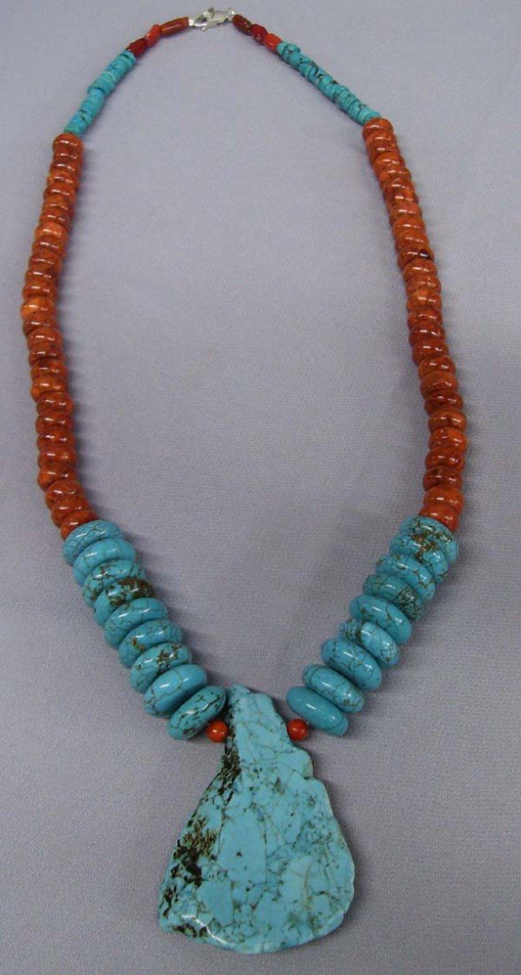 Southwestern Turquoise Pendant Coral Necklace