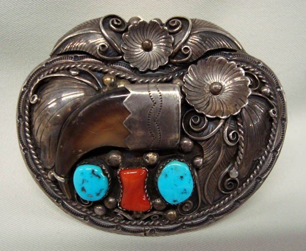 Navajo Turquoise Coral Claw Belt Buckle