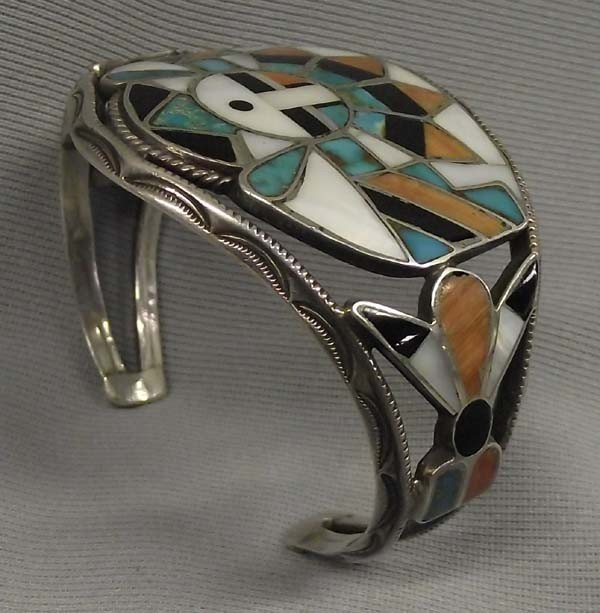1940 Zuni Silver Inlay Sun Face Kachina Bracelet