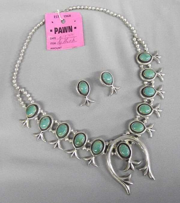 Navajo Sterling Turquoise Squash Necklace Earring