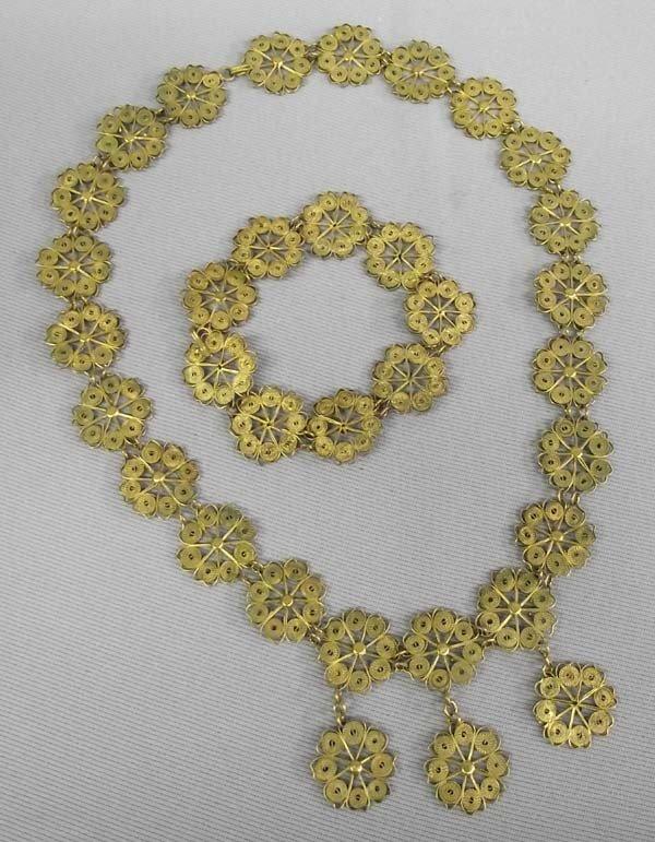 Gilt Filigree Necklace & Bracelet