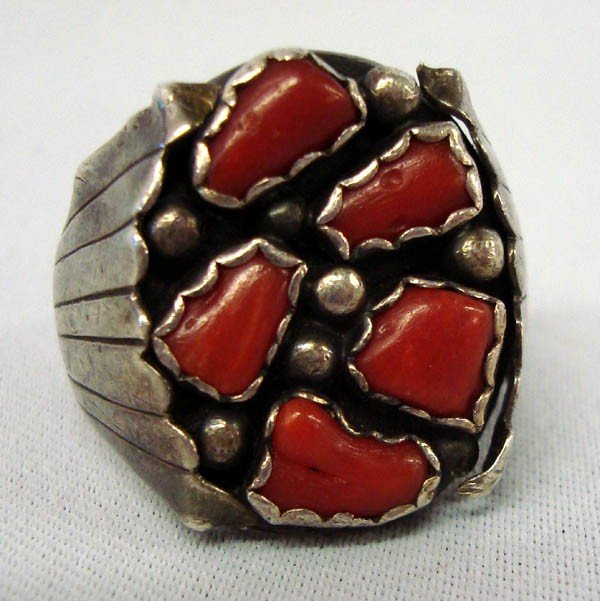 Navajo Sterling Silver & Red Coral Ring