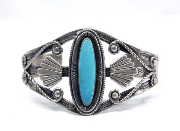 Vintage Sterling Silver & Turquoise Bracelet
