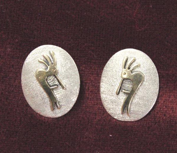 Navajo 14K & Sterling Kokopeli  Earrings-Jimmy Secatero