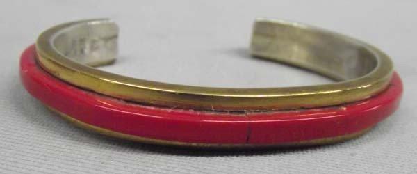 Navajo Coral Brass On Sterling Silver Bracelet