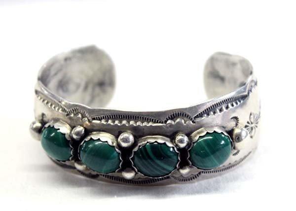 Navajo Sterling Silver Malachite Bracelet