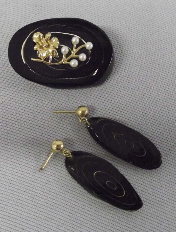 Vintage Black Coral Pin/Brooch & Earrings