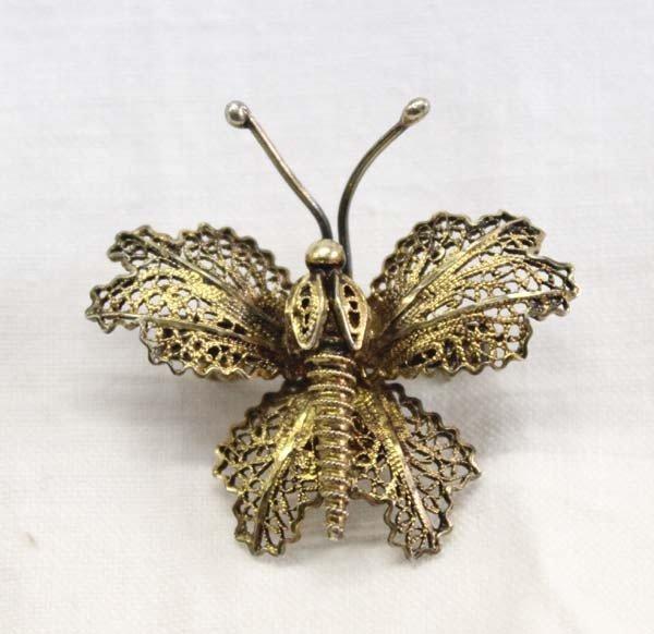 Vintage Portuguese Silver Vermeil Butterfly Pin