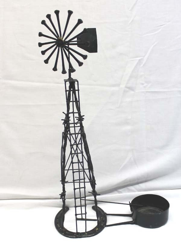 Cowby Horseshoe Barbed Wire Miniature Windmill