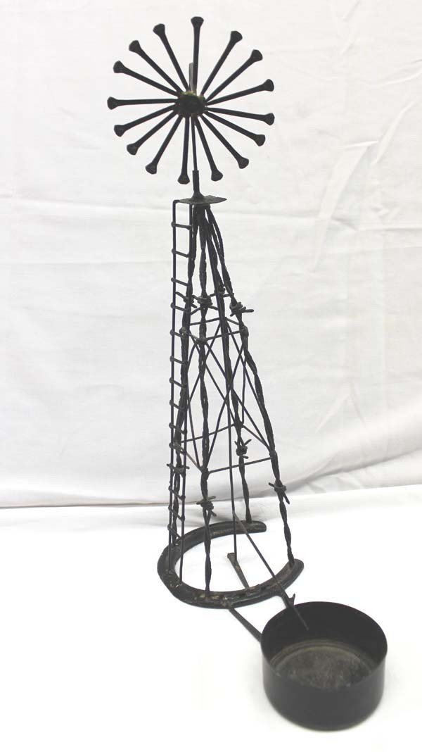 Cowby Horseshoe Barbed Wire Miniature Windmill - 2