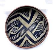 Prehistoric Gila Black on Tan Geometric Bowl