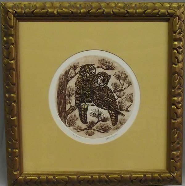 Owl Lithograph Picture - C. Branagan