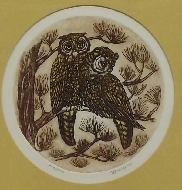 Owl Lithograph Picture - C. Branagan - 2